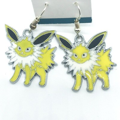 Yellow and white volt fox pet earrings