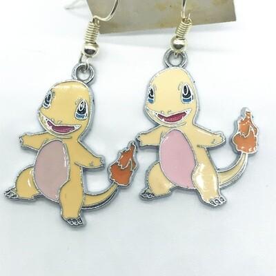 Yellow and pink lizard pet earrings
