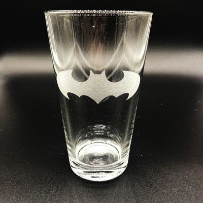 Etched 16oz pub glass - Bat