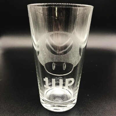 Etched 16oz pub glass - 1 UP
