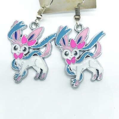 White and blue fox pet with pink bow earrings