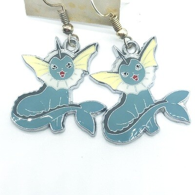 Blue and white water fox pet earrings