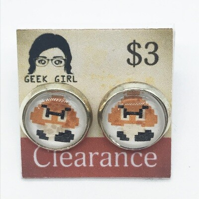 Photo Earrings - 8-bit angry friend