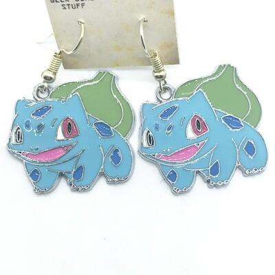 Blue and plant amphibian pet earrings