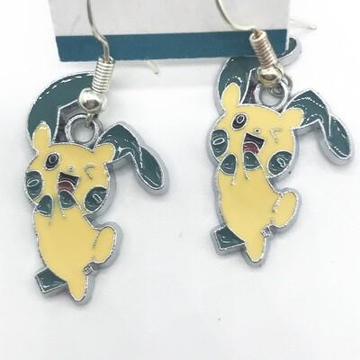Yellow and green long ear bunny pet earrings