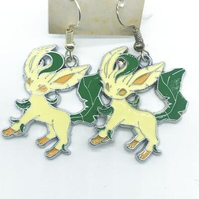 Yellow and green fox pet earrings