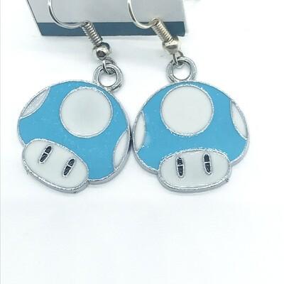 Light blue mushroom earrings