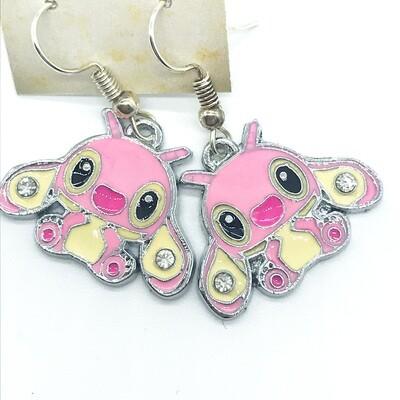 Pink alien friend earrings