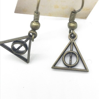 Bronze small deathly hallows earrings