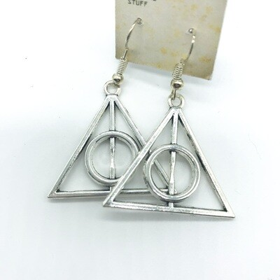 Silver large deathly hallows earrings