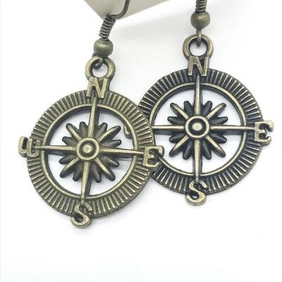 Bronze compass earrings