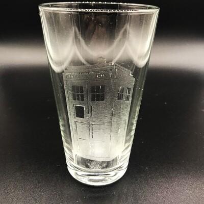 Etched 16oz pub glass - Tardis