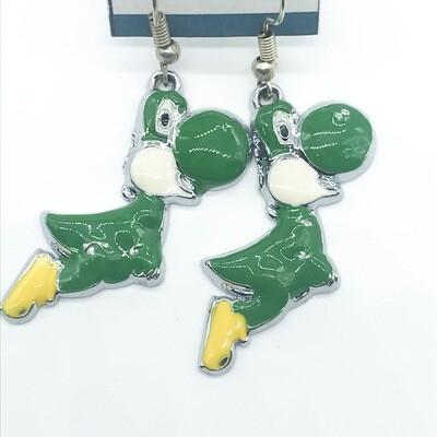 Green frog friend earrings
