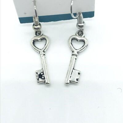 Heart keys earrings