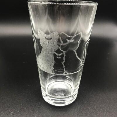 Etched 16oz pub glass - Cats