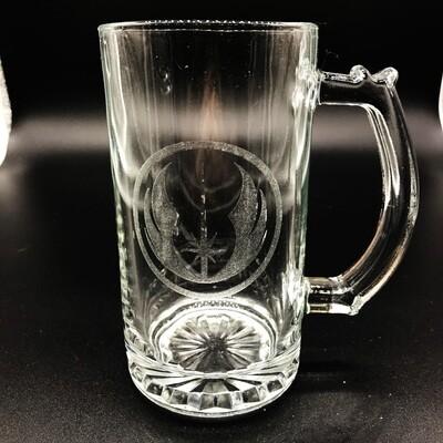 Etched 13oz glass mini stein - Warrior