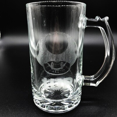 Etched 13oz glass mini stein - One Up