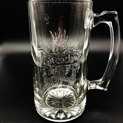 Etched 26oz glass stein - Intellect Wizard House