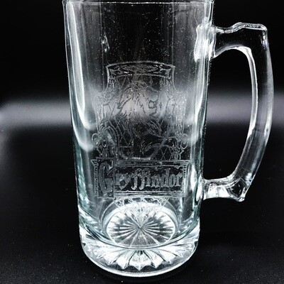 Etched 26oz glass stein - Brave Wizard House
