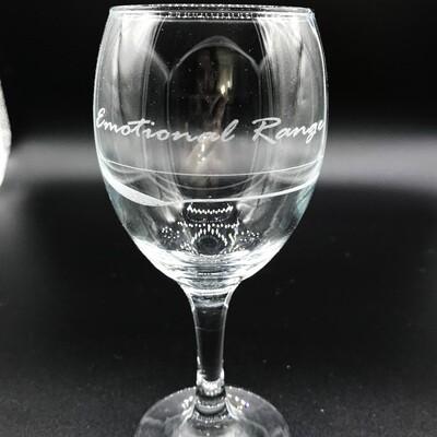 Etched 8oz wine glass - Emotional Range of a Teaspoon