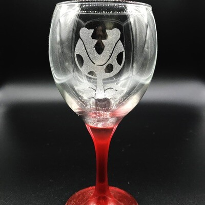 Etched 10oz wine glass with red stem - Plant