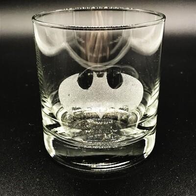 Etched 8oz rocks glass - Bat