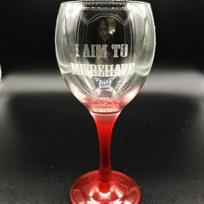 Etched 10oz wine glass with red stem - I Aim to Misbehave