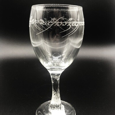Etched 8oz wine glass with swirl stem - One Ring Script