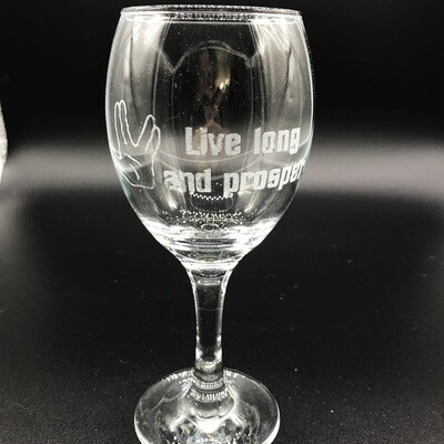 Etched 8oz wine glass - Live Long and Prosper