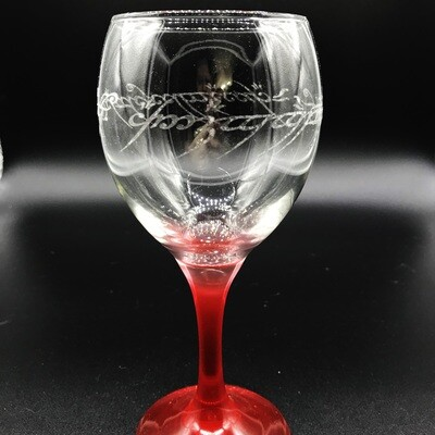 Etched 10oz wine glass with red stem - One Ring Script