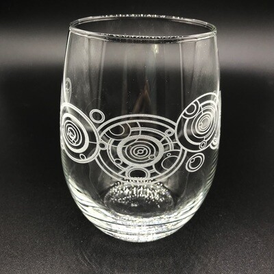 Etched stemless wine glass - Gallifreyan
