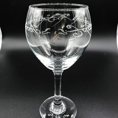 Etched 16oz wine glass - One Ring Script