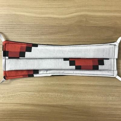 8 bit Hearts fabric pleated mask - elastic bands