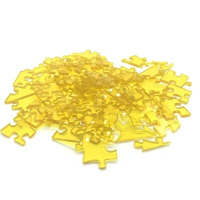 60 piece yellow acrylic puzzle - star shaped