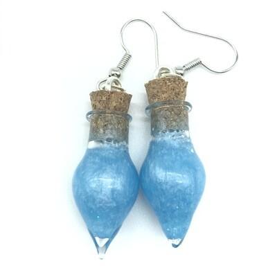 Potion Earrings - Cyan, point bottle