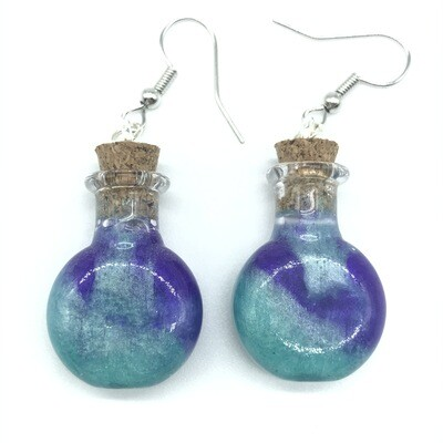 Potion Earrings - Dual tone teal and purple, round flat bottle