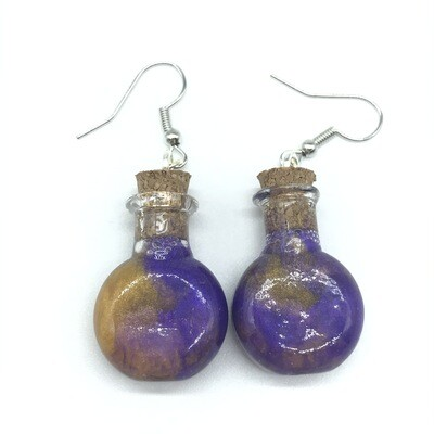 Potion Earrings - Dual tone purple and gold, round flat bottle