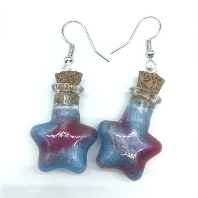 Potion Earrings - Dual tone cyan and red, star bottle