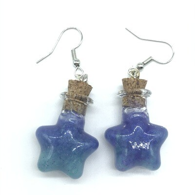Potion Earrings - Dual tone teal and purple, star bottle