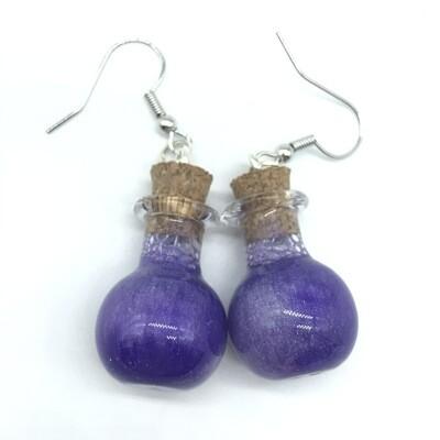 Potion Earrings - Dual tone purple, sphere bottle