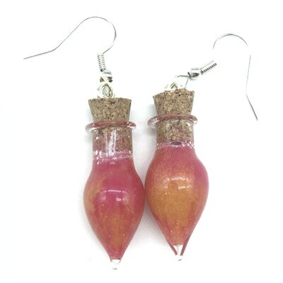 Potion Earrings - Dual tone red and gold, point bottle