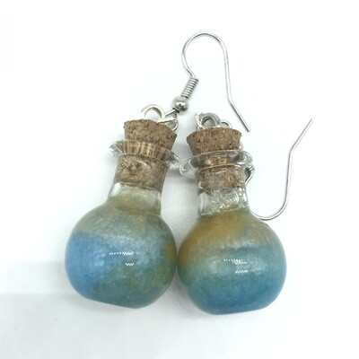 Potion Earrings - Dual tone cyan and gold, sphere bottle