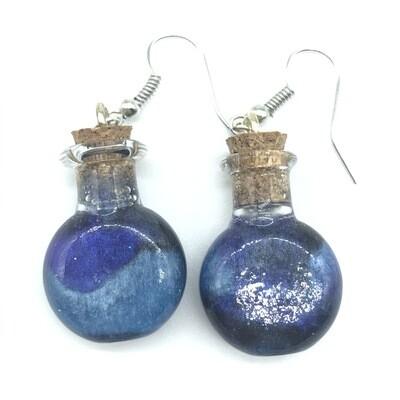 Potion Earrings - Tri tone cyan, indigo, & black, round flat bottle