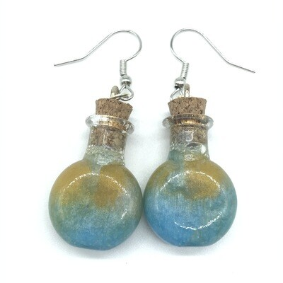 Potion Earrings - Dual tone cyan and gold, round flat bottle