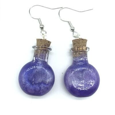 Potion Earrings - Dual tone purple, round flat bottle