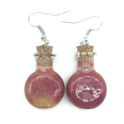 Potion Earrings - Dual tone red and gold, round flat bottle