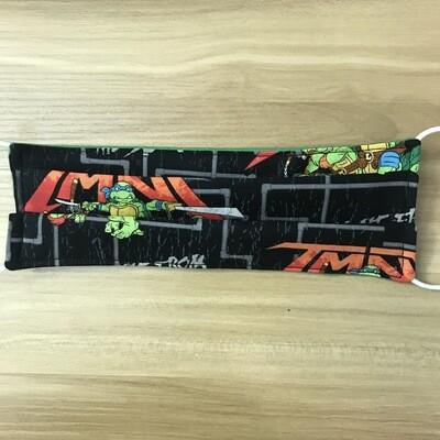 TMNT Ninja Turtle fabric pleated mask - elastic bands