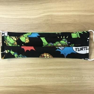 Teenage Mutant Ninja Turtle fabric pleated mask - elastic bands