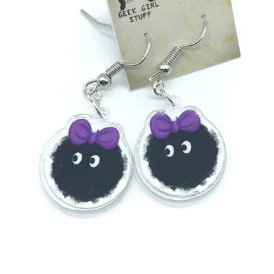 Pink bow soot acrylic charm earrings