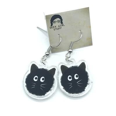 Cat soot acrylic charm earrings